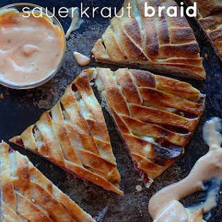 Corned Beef Sauerkraut Reuben Braid.