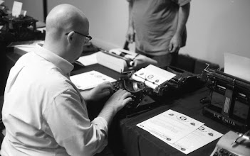 Photo: Ryan Adney trying out an Underwood Universal.