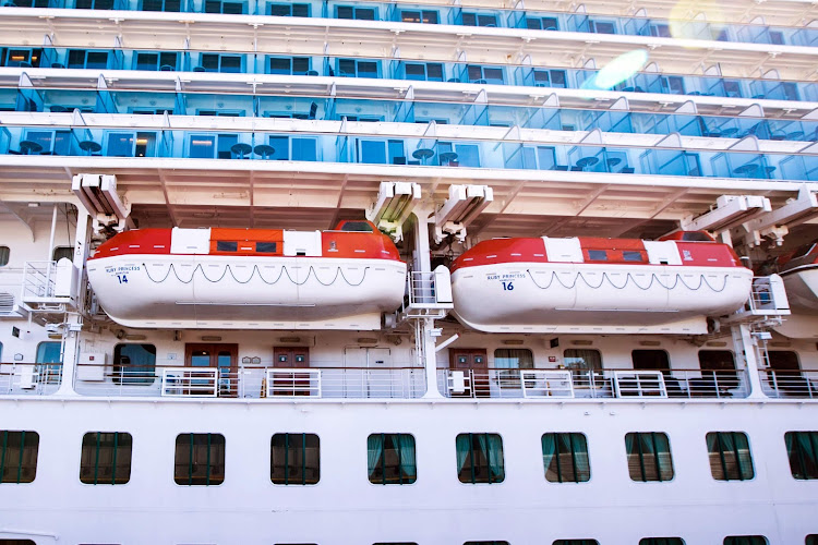 Some of the lifeboats on Ruby Princess.