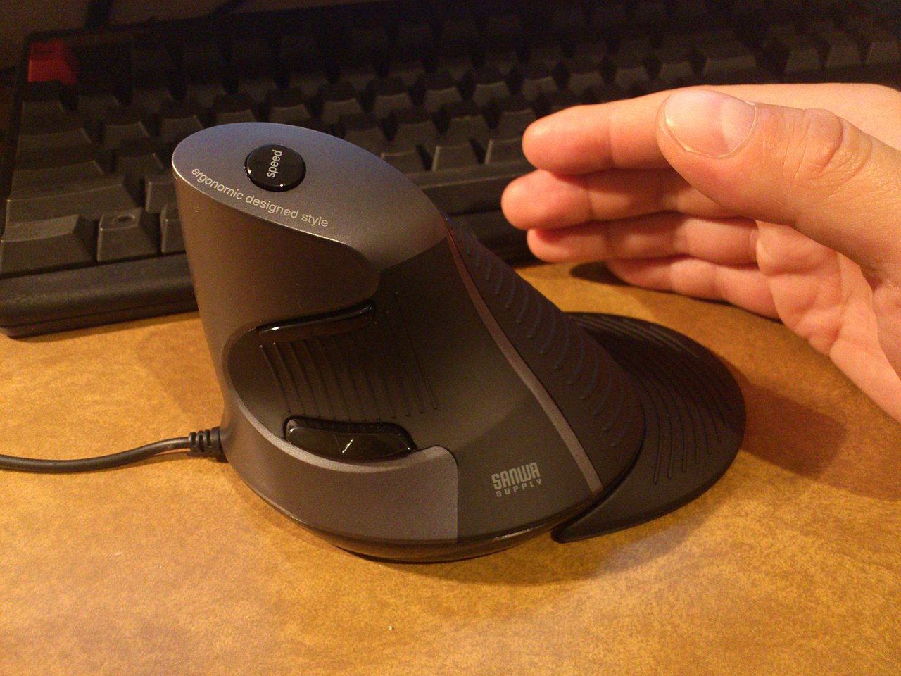 An ergonomic mouse.