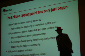 Photo: Michael Tiemann doing his keynote, EclipseCon 2004