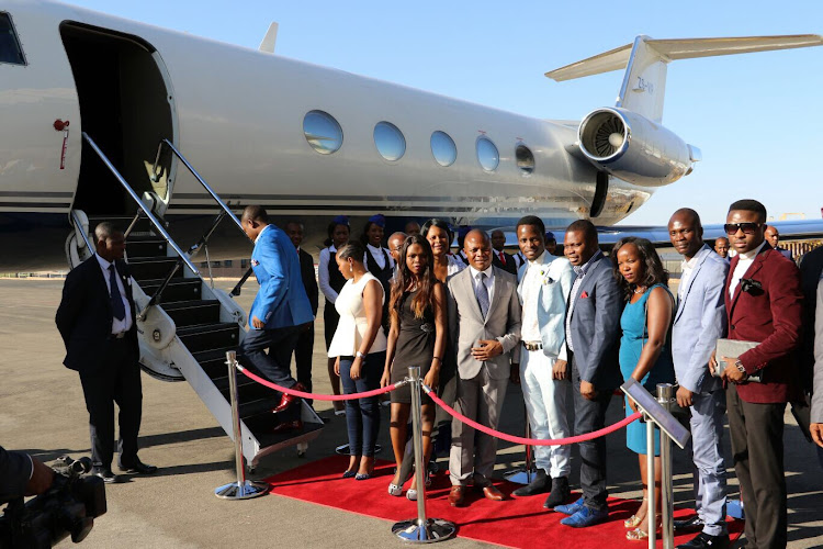 Bushiri and his entourage at the launch of his jet
