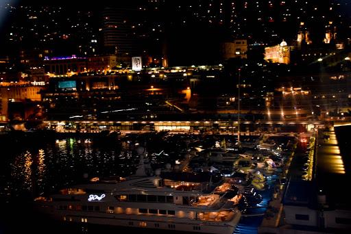 The Monte Carlo harbor at night.