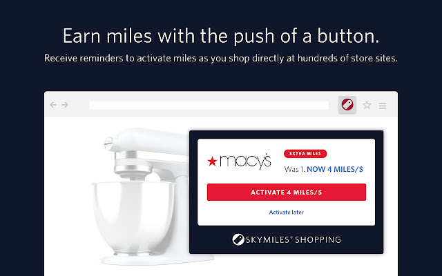 Delta Airlines SkyMiles® Shopping button
