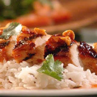 Chicken with Papaya BBQ Sauce.