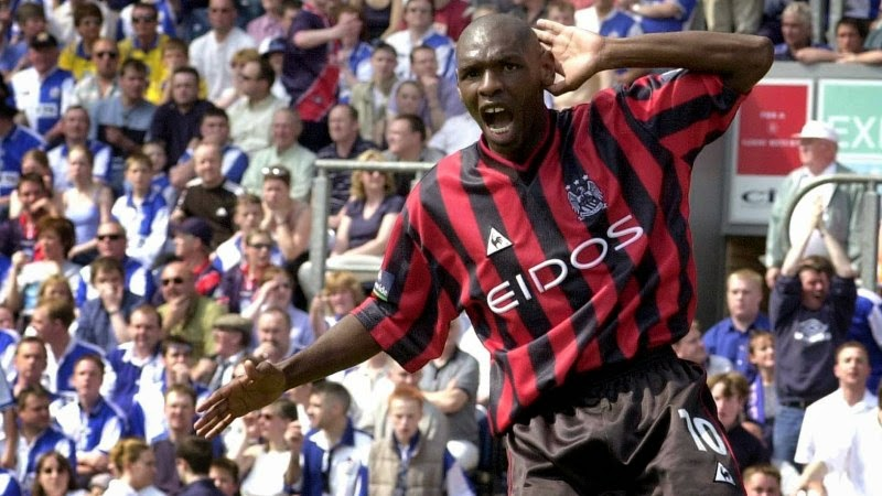 Photo: This picture can only be used within the context of an editorial feature. Manchester City's Shaun Goater celebrates his goal against Blackburn Rovers during the Nationwide Division One match at Ewood Park. Final score:  Blackburn Rovers 1 Manchester City 4.