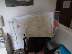 Photo: ... to find Marcia studying the map in preparation for tomorrow. Lakeland names can be peculiar. My favorites: High Snab and Low High Snab.