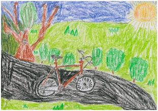 """Photo: praca Kacpra :""""Jeżdżę rowerem, bo zdrowe i ekologiczne""""."""