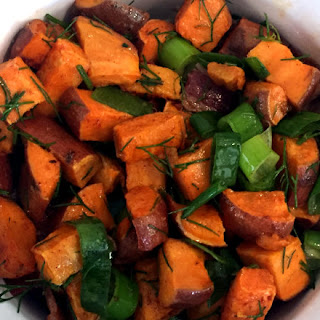 Cold Sweet Potato Salad with Dill, Bacon, and Lime.