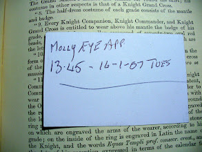 """Photo: """"Molly Eye App"""" (2007) - written on the back of an AA card in A Lexicon of Freemasonry (printed 1919)."""