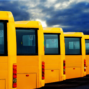 Yellow busses. by Konrad Ragnarsson - Abstract Patterns ( iceland, bus, konni27, transport, art )
