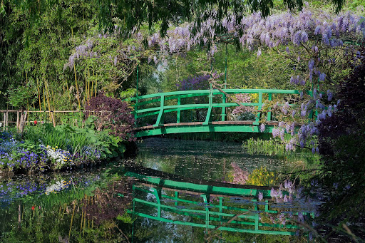 A Japanese footbridge in Giverny that inspired Claude Monet's water-lily paintings.
