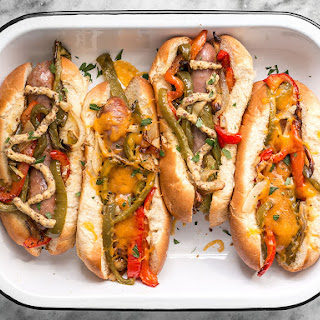 Roasted Bratwurst with Peppers and Onions.
