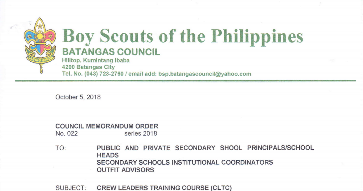 Bsp Council Memorandum Order No 022 S 2018 Re Crew Leaders