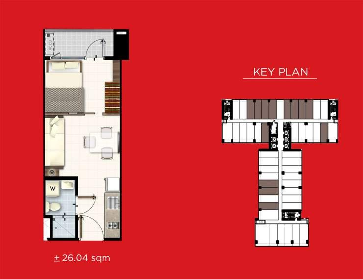 Red Residences, Chino Roces, Makati 1 bedroom with balcony