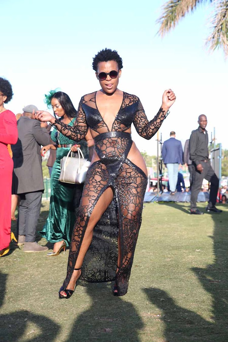Zodwa Wabantu's floor-length high-slit dress turned heads at the Vodacom Durban July.