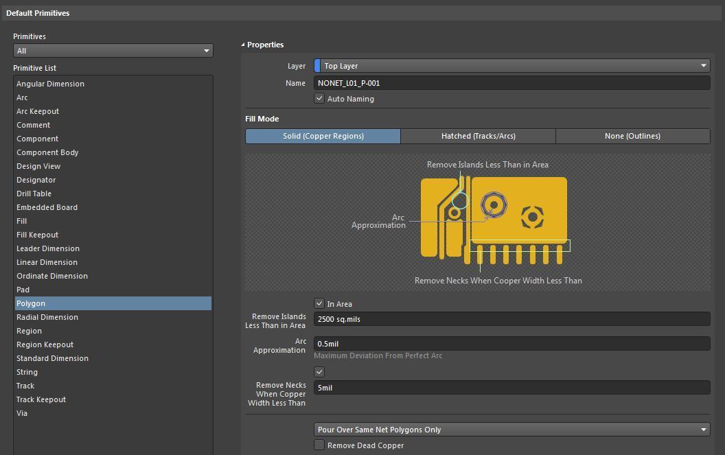 (Alt text: Capture d'écran - Configuration des préférences par défaut AD18 - Remplissage polygonal dans des zones de cuivre de circuit imprimé)