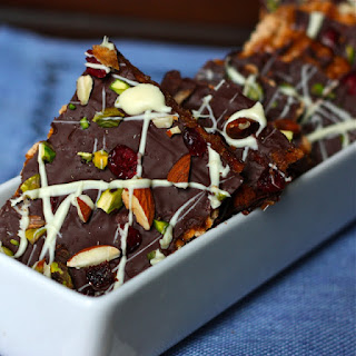 Dark Chocolate-Toffee Matzah Bark with Pistachios, Almonds, and Cranberries