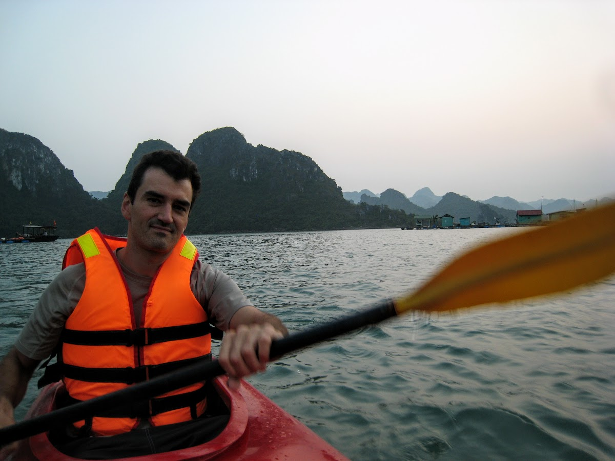 Bruno kayaking as we leave the village