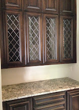 Photo: Traditional stained glass cabinet glass. Leaded glass, kitchen, curio, pantry, armoire, butler's pantry. Custom handmade diamond beautiful glass.