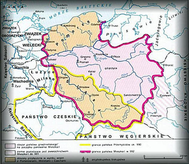 Mapa Polski za czasów Mieszka