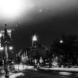 Winter-peg by Ashlee Bear - Black & White Street & Candid ( city, snow, christmas )