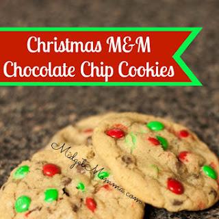 Christmas M&M Chocolate Chip Cookies
