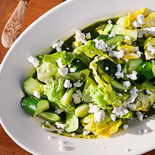 Lettuce, Basil, and Cucumber Salad with Goat Cheese.
