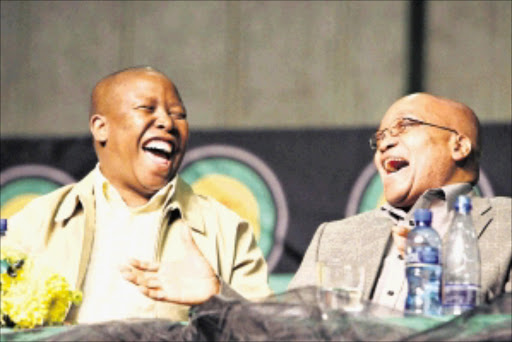 'NO DEBATE': ANC Youth League president Julius Malema shares a lighter moment with President Jacob Zuma. Pic: SYDNEY SESHIBEDI. 29/06/2008.