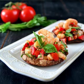 Roasted Portobello Topped with Spicy Shrimp Bruschetta (Paleo/Whole30).