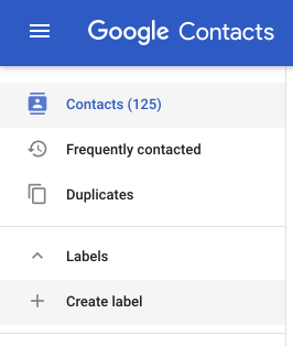 Creating a label in Google Contacts