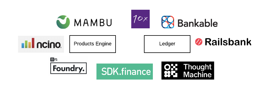 Startups in the core banking space: 10x, Mambu, Railsbank, ncino, ThoughtMachine