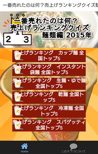一番売れたのは何?売上げランキングクイズ麺類編 2015年