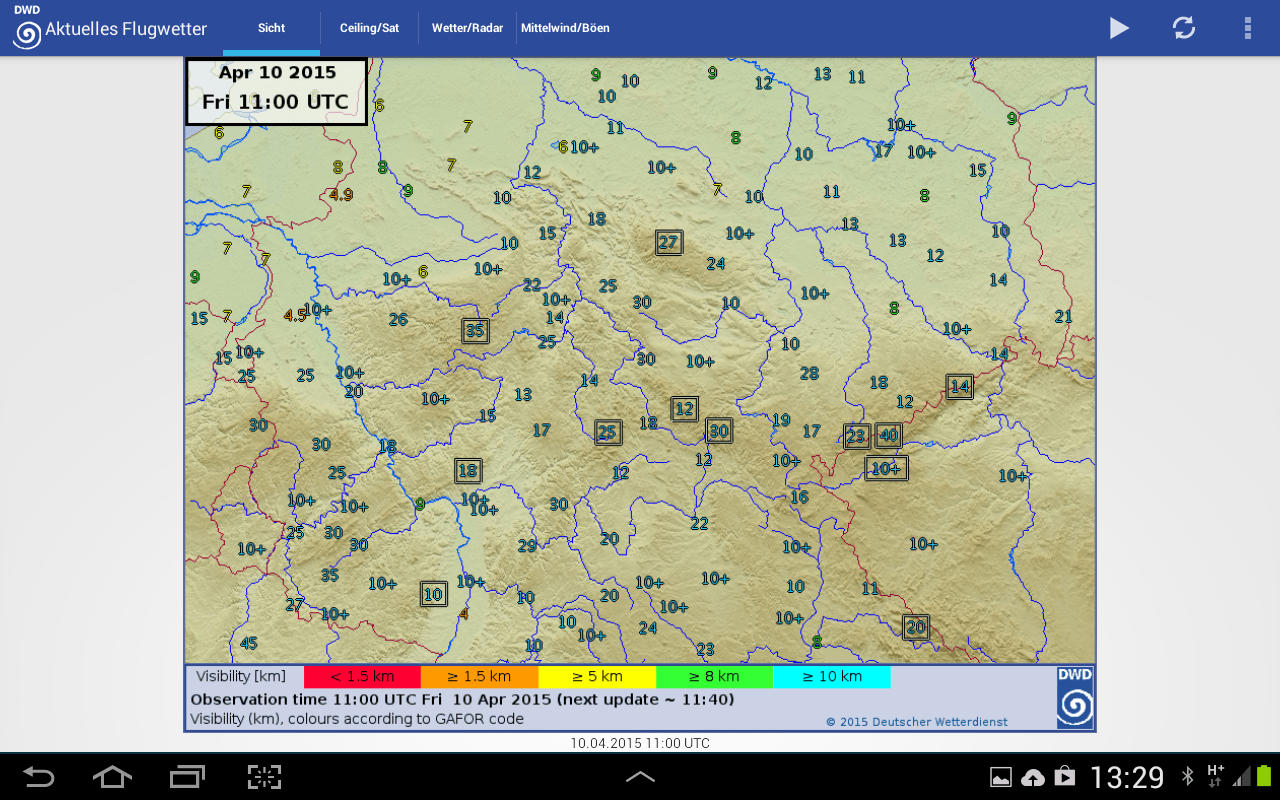 DWD Flugwetter- screenshot