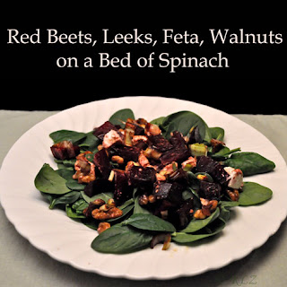 Red Beets, Leeks, Feta, Walnuts on Spinach