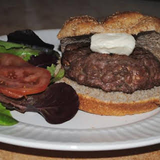 Big Beef Burgers Stuffed With Provolone and Mushrooms.