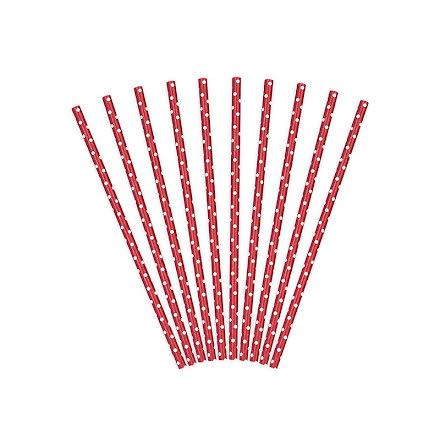 Sugrör - Röda med vita prickar