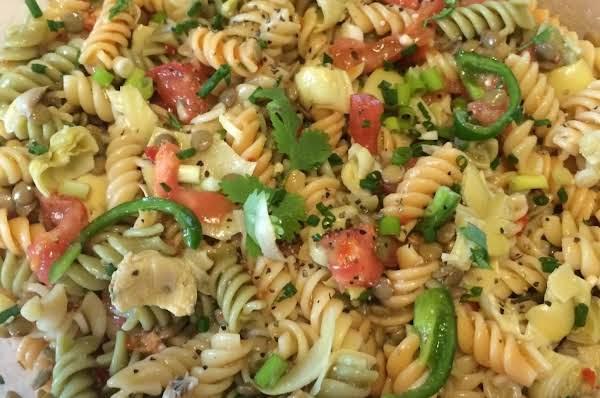 Never Ending Robust Artichoke Veggie Pasta Salad