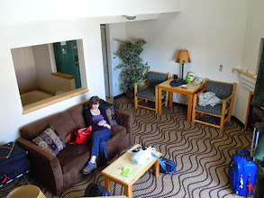 Photo: We got upgraded to a suite! Mezzanine, hot tub, the works. Woo!