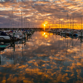 Sunset at the Yacht Club by Keith Walmsley - Landscapes Sunsets & Sunrises ( clouds, reflection, sunset, australia, boats, victoria, landscape, coast )