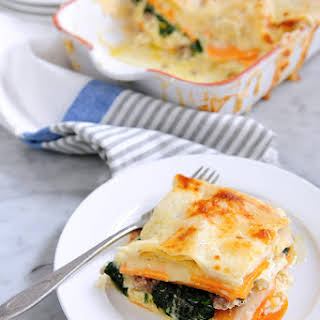 Alfredo Sweet Potato & Spinach Lasagna with Sausage.