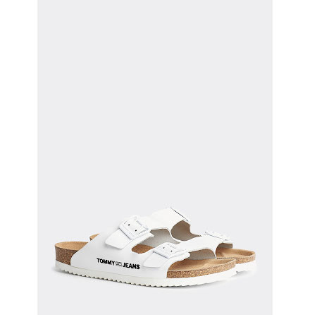 Colour-Blocked Flat Sandals, white