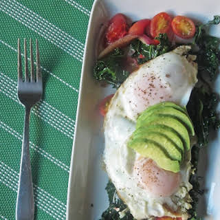 Breakfast in 10 - Kale Avocado and Basted Eggs.