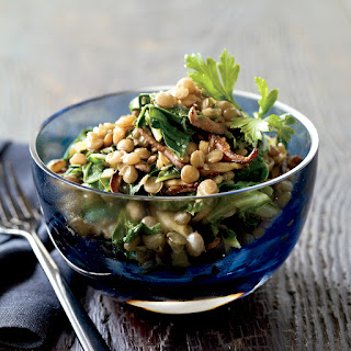 Spiced Lentils with Mushrooms and Greens.