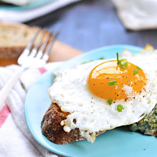 Creamed Spinach Toasts With Fried Eggs + Fennel