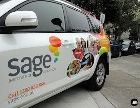 Photo: AutoSkin | Sage Institute of Education (4 photos) Partial vehicle wrap on a Toyota Rav 4 advertising courses available at Sage Institute of Education.