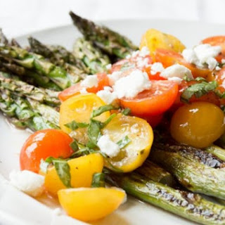 Grilled Asparagus and Caprese Salad.