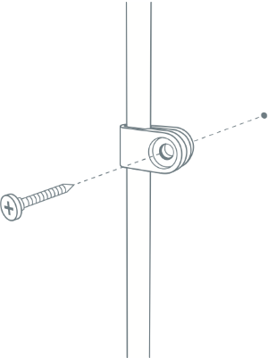 Diagram of how to install Nest Camera cable clip screw