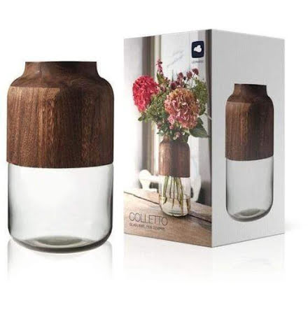 Colletto Vas trä/glas grå 32 x 17 cm