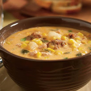 Slow Cooker Poblano Corn Chowder with Chicken and Chorizo.